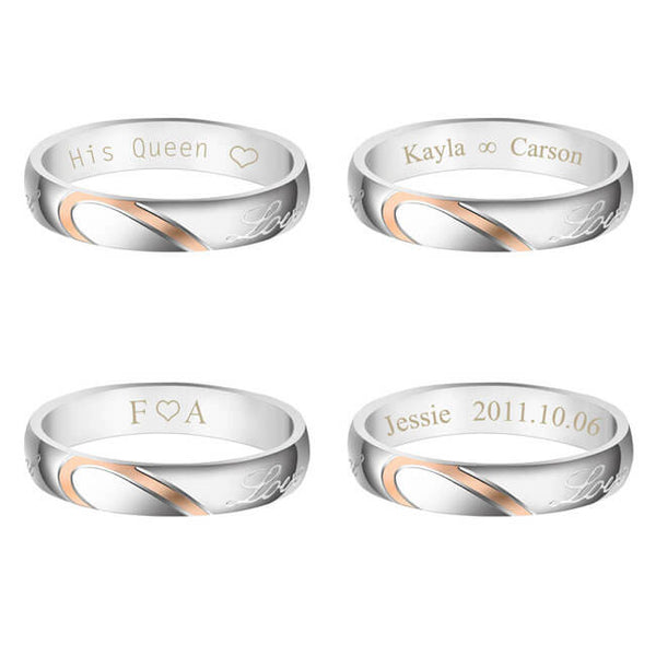 Engraving His and Her Heart Matching Set Couple Rings Promise Wedding Band | Jovivi