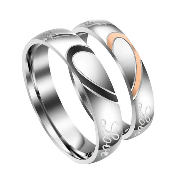 Jovivi Free Engraving Custom Stainless Steel His or Hers Real Love Heart Matching Set Couple Ring Engagement Promise Wedding Band