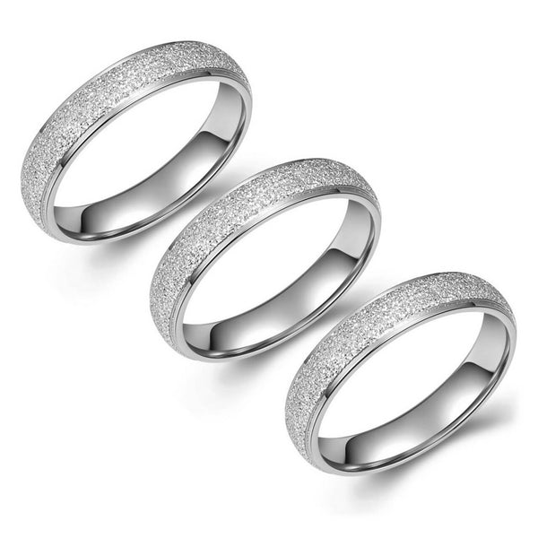 Jovivi 4mm Women Stainless Steel Frosted Band Ring Dainty Anniversary Stackable Ring Kit