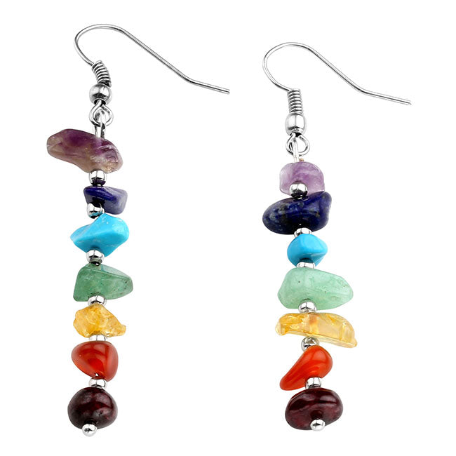 7 Chakras Gemstone Crystal Quartz Hook Earrings Copper Wire Wrap | Jovivi