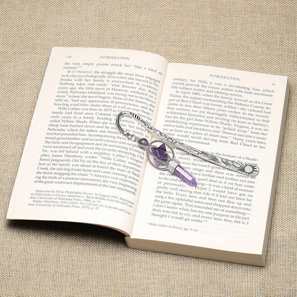 Jovivi Metal Bookmark Beading Bookmarks with Amethsyt Pointed Crystal Quartz Merkaba Hexagonal