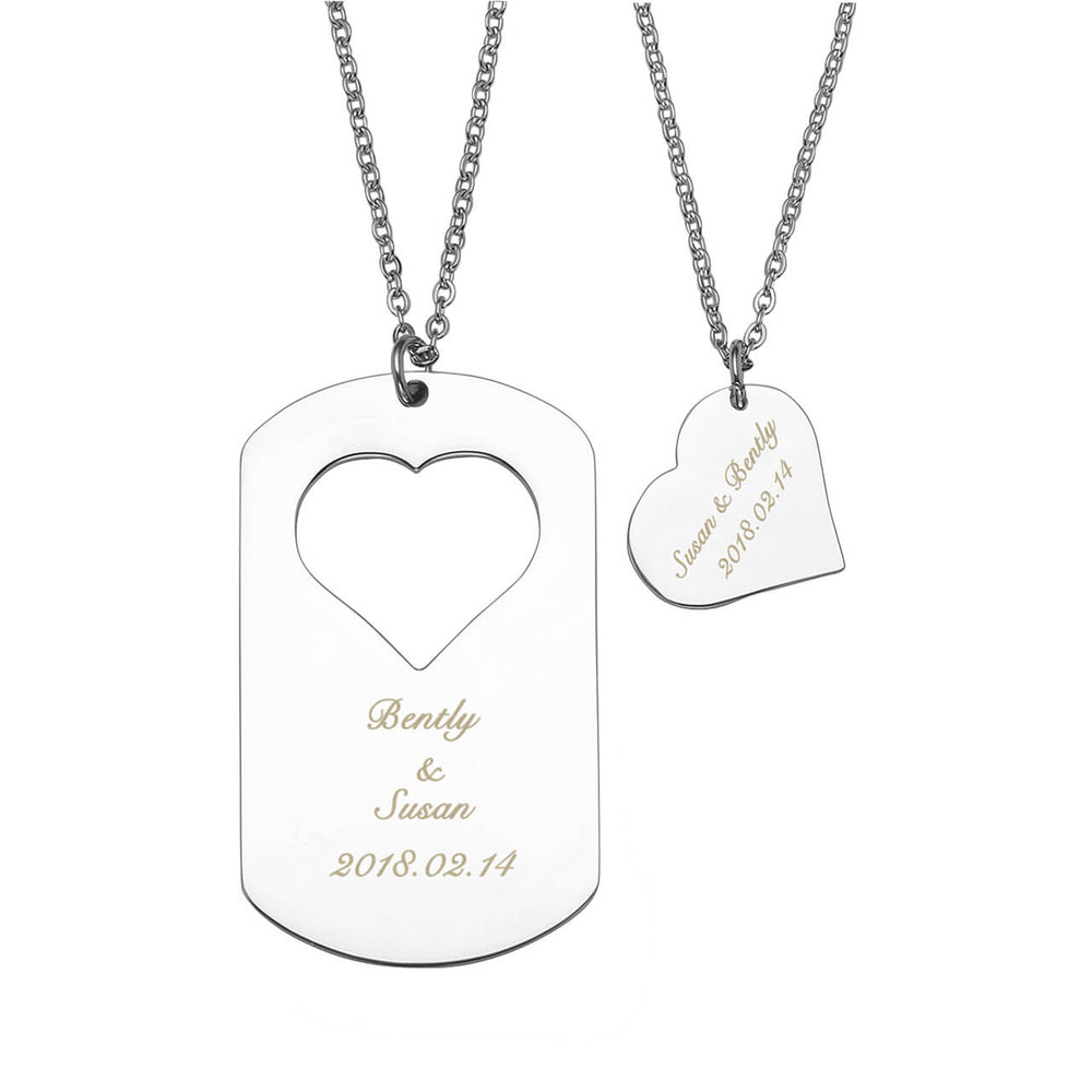 Jovivi Personalize Engrave Love Heart Dog Tag Name Necklaces Matching Puzzle Pendant for Couples