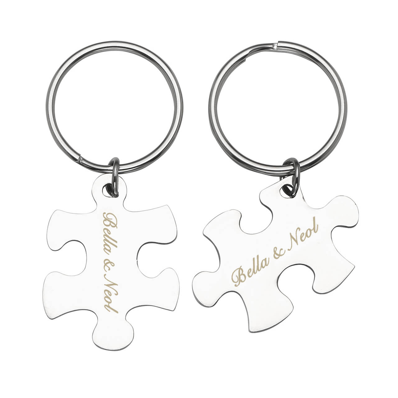 Jovivi Customize Puzzle Name Message Keychain Set for