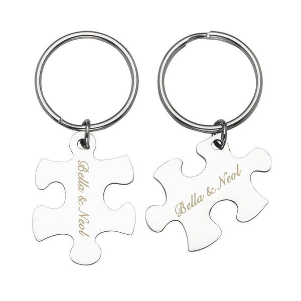 personalized matching puzzle name tag keychain dog tag keychain set for couple