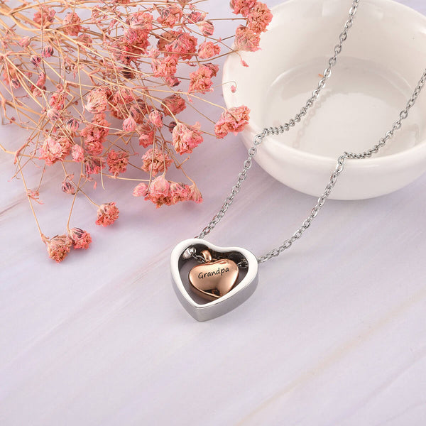 Jovivi Personalized Heart Urn Necklace for Ashes Memorial Pendant Keepsake Cremation Jewelry