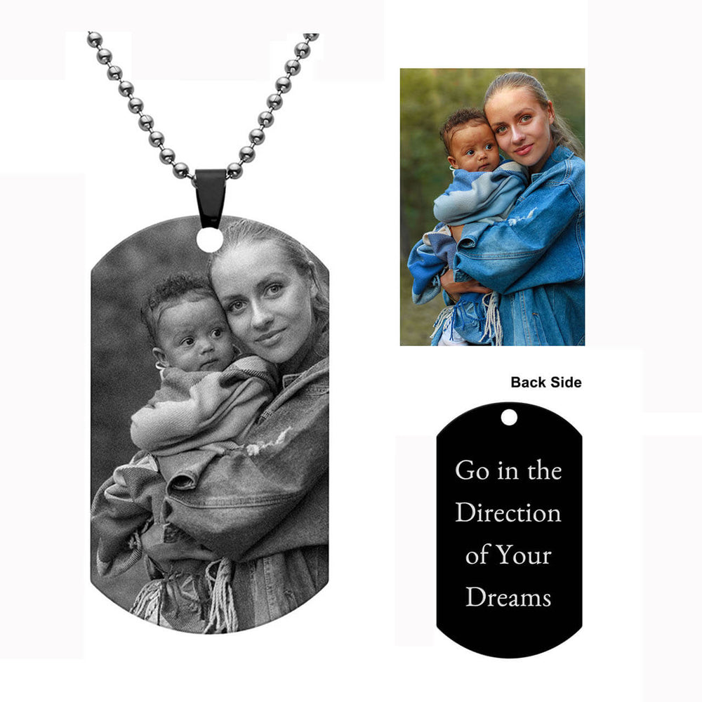 Jovivi Personalized Engraved Picture Necklace Text Dog Tag Pendant Custom Name Plate Necklace