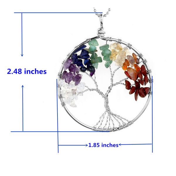Jovivi Crystal Quartz Tree of Life Pendant Necklace