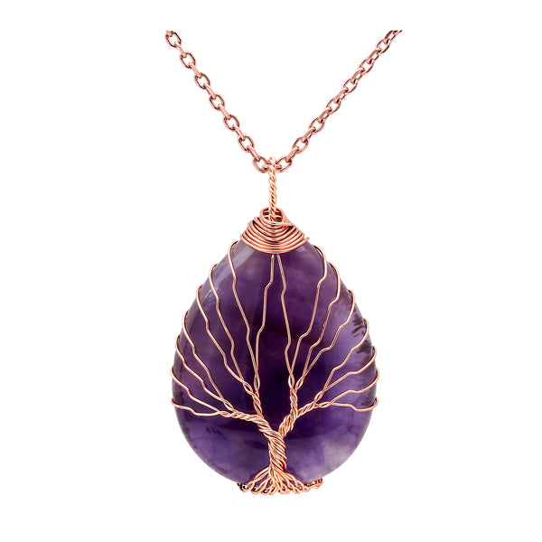 Natural Gemstones Tree Life Necklace