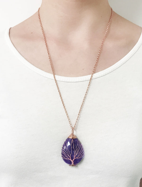 jovivi natural amethyst gemstones tree of life pendant necklace, qnd53401