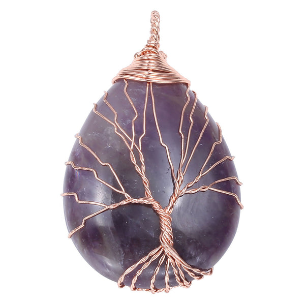 Jovivi Natural Gemstones Tree Life Necklace