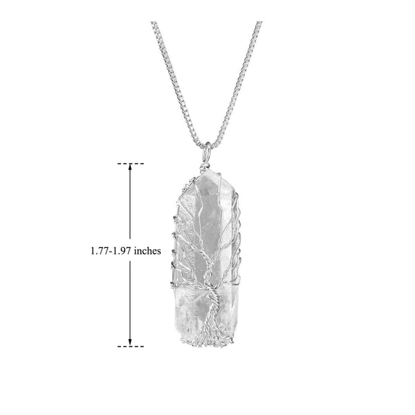 Jovivi Tree of Life Pendant, Clear Quartz Healing Gemstones Necklace for Women