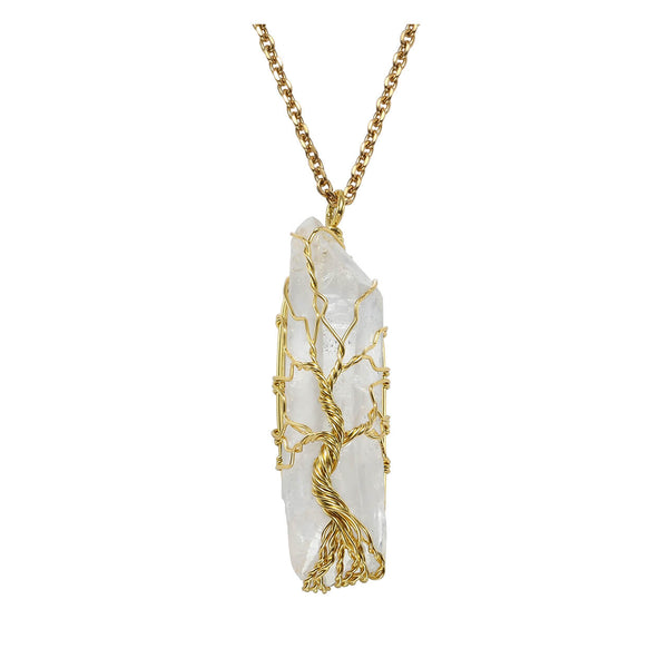 qnd56202 jovivi gold plated copper wire wrapped clear quartz tree of life healing energy necklace