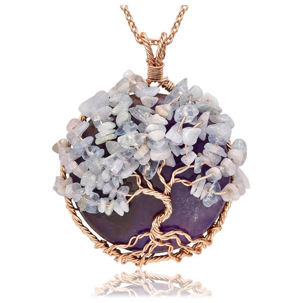Jovivi amethyst handmade pendant necklace copper wires wrapped opal chip stones, qnd5710