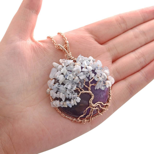 Jovivi amethyst healing reiki necklace with opal chip stones tree of life handmade jewelry, front side, qnd5710