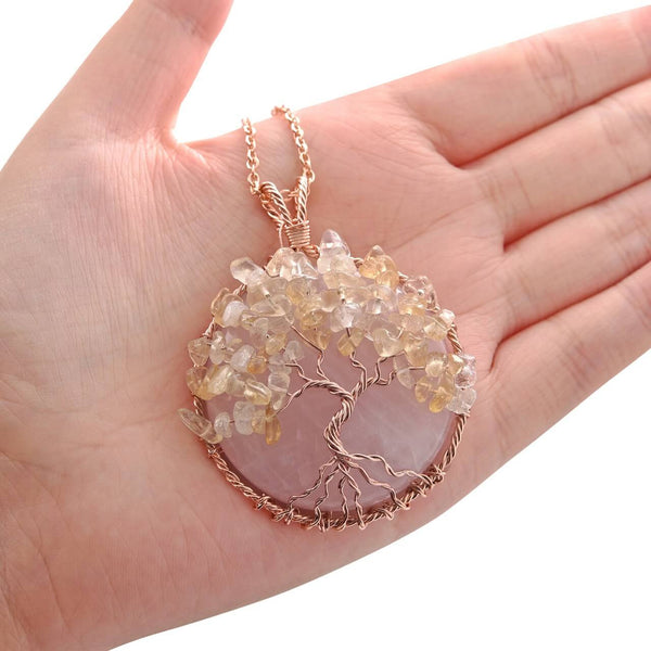 Jovivi Christmas gift for mother tree of life handmade jewelry, rose quartz & Citrine Crushed Stone, front side, qnd5710