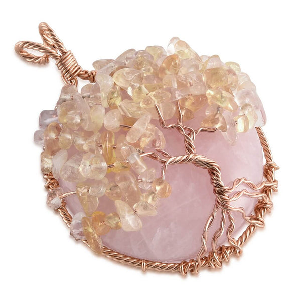 jovivi natural rose quartz handmade tree of life pendant with Citrine Crushed Stone as leaves, qnd5710
