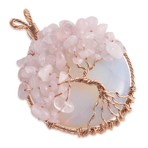 Jovivi Healing Crystal Necklace Tree of Life Copper Wire Wrapped Handmade Jewelry
