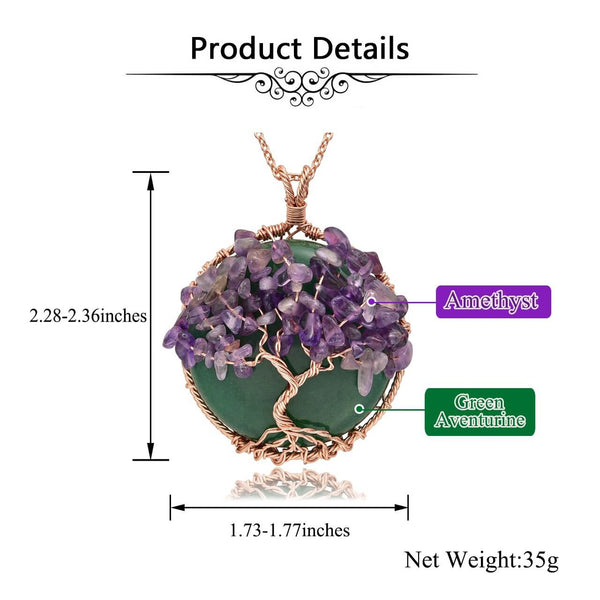 jovivi natural gemstones tree of life copper wrapped pendant neckalce, green aventutine & amethyst chip stones, size, qnd5710