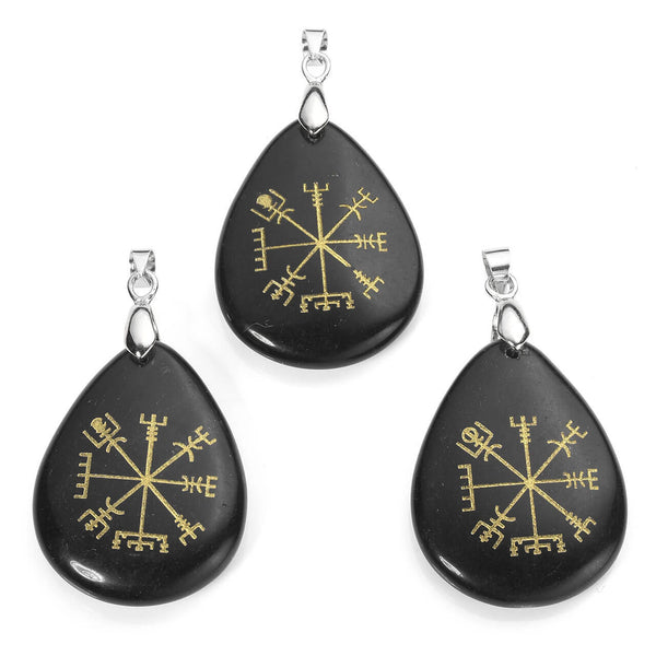 Jovivi Viking Compass Vegvisir Gemstone Healing Crystal Teardrop Chakra Pendant Necklace