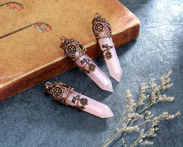 Jovivi Antique Flower Wrapped Pointed Natural Gemstones Crystal Necklace Pendulum Divination