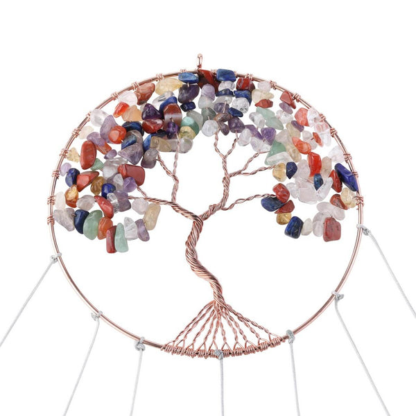 tdd003001 jovivi 7 chakras healing crystal tree of life windchime for outdoor decoration