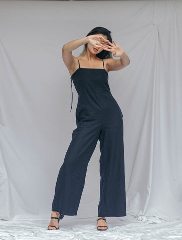 Midnight Blue Linen Jumpsuit