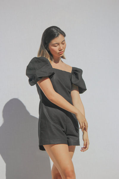 Black Puff Sleeve Romper