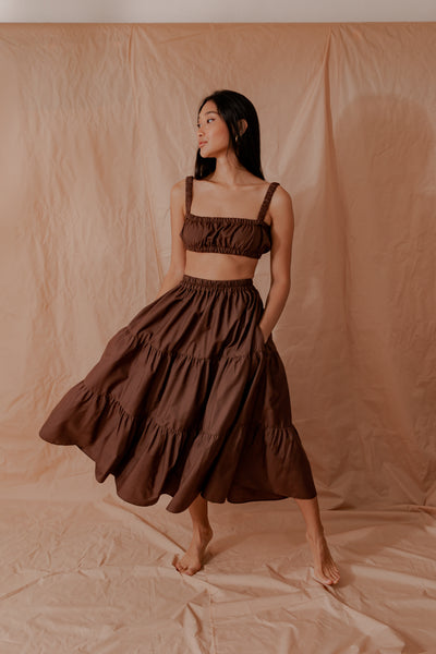 Cocoa Tiered Skirt
