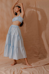 Light Blue Tiered Skirt