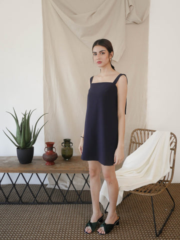 Navy Blue Shift Dress with Pockets