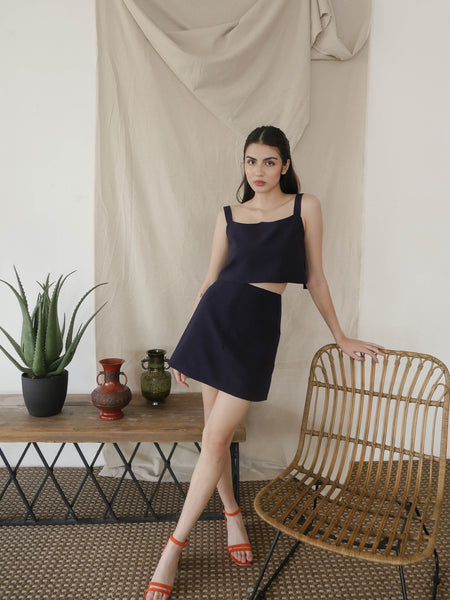 Navy Blue Patch Pocket Skirt