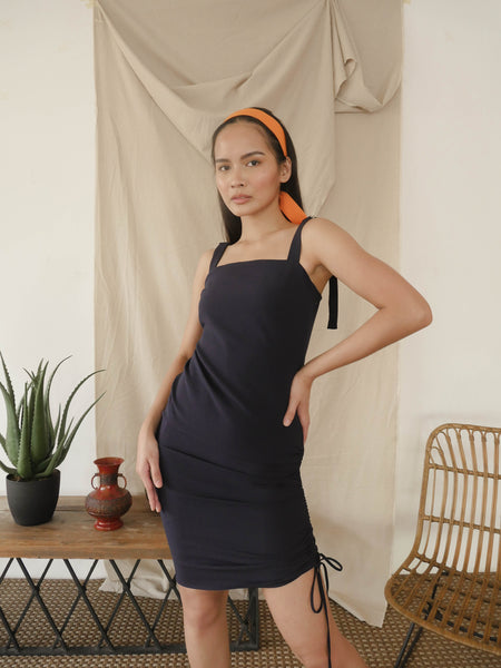 Navy Blue Shift Dress with Side Tie