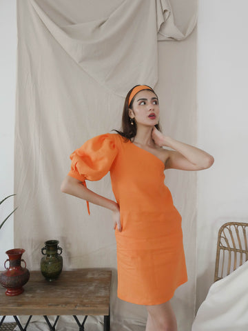Orange One Shoulder Puff Sleeve Dress