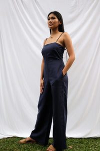 Navy Blue Linen Jumpsuit