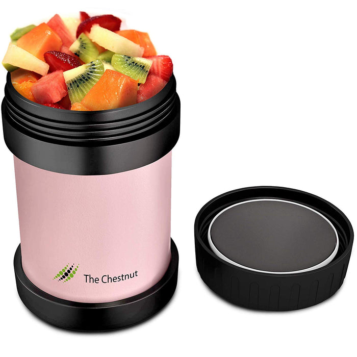 Small Thermos Food Jar for Women, Men & Kids - Stainless Steel Thermo Lunch Box- Pink