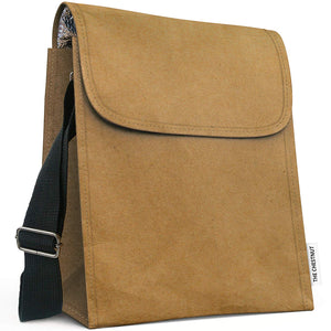 Lunch Bag - Reusable - Made of Kraft Paper - Recyclable - for Women, Men, Kids - Eco-friendly - with Adjustable Shoulder Strap