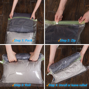 8 Travel Space Saver Bags - No Vacuum or Pump Needed - Storage Bags for Clothes - Reusable Packing Sacks - Travel Accessories Luggage Compression Bags