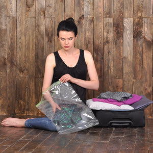 12 Travel Storage Bags for Clothes - Compression Bags for Travel - No Vacuum Sacks-Save Space in your Luggage Accessories