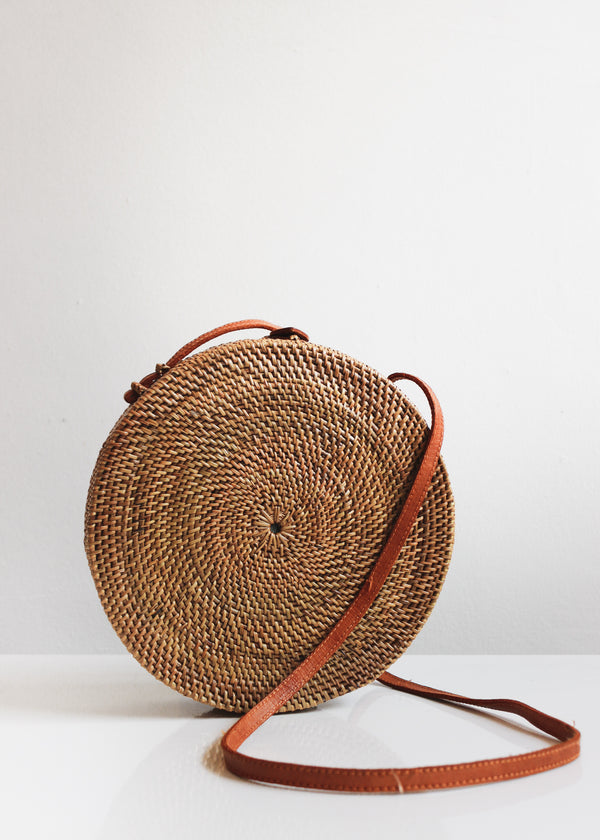 The Winding Road Woven Ata Grass Circle Bag