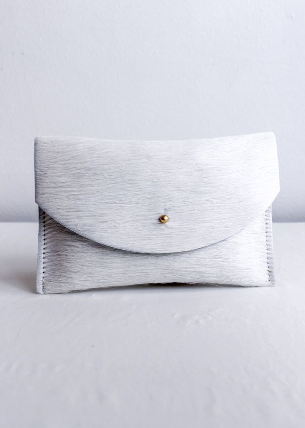 Primecut Natural White Cowhide Clutch