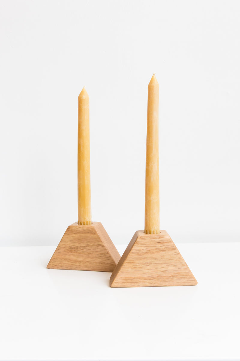 Ethan Vayo White Oak Triangle Candlestick Holders