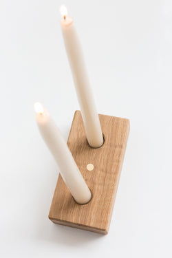 Ethan Vayo  Curly White Oak + Brass Candlestick Holder
