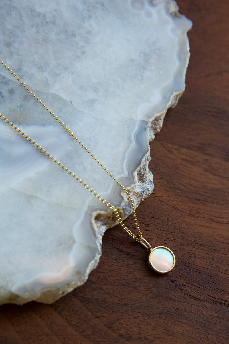 Halcyon Mini Medallion Mother of Pearl & 14k Gold Necklace