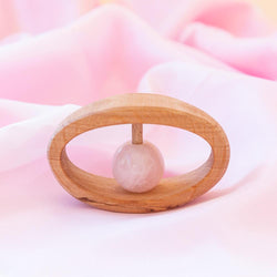 Natural Wooden Teether with Pink Quartz