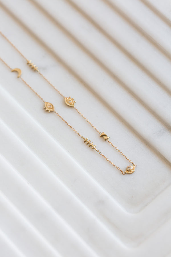 Lio + Linn 14k Eye Moon Gate Necklace