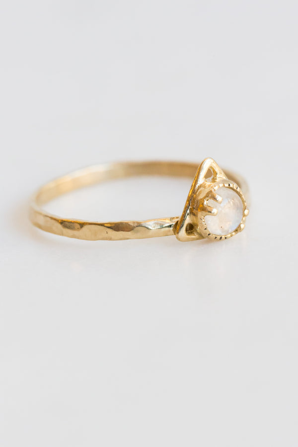 Lio + Linn 14k Good Change Triangle Moonstone Ring