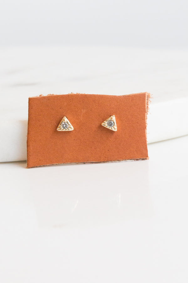 Lio + Linn Gray Diamond Triangle Studs