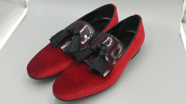 Red-Patent Velvet Luxury Slip-ons