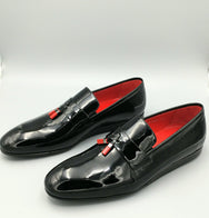 Black-Red Patent Slip-ons
