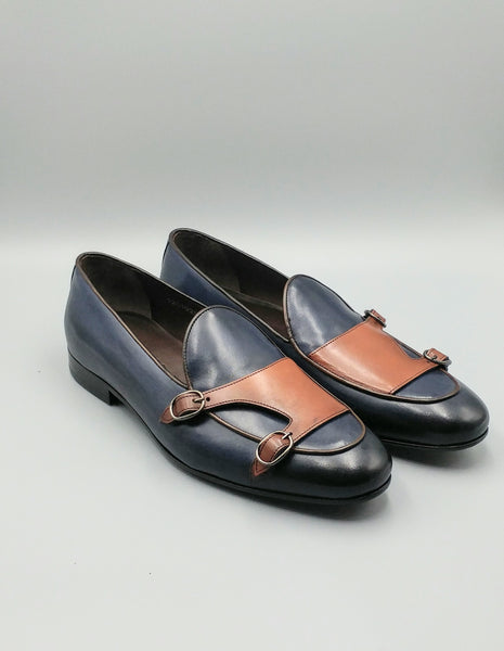 Blue-Tan Luxury Monkstrap Loafers